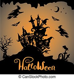 uczęszczany dom, halloween, tło, noc