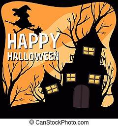 uczęszczany dom, temat, halloween czarownica