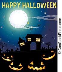 uczęszczany dom, temat, halloween, twarze