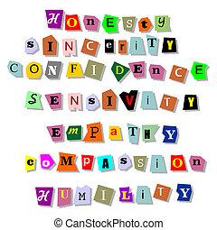 uczciwość, szczerość, empaty