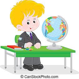 uczeń, na, geografia, lekcja