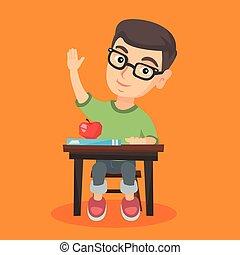 uczeń, posiedzenie, na, przedimek określony przed rzeczownikami, biurko, z, podniesiony, ręka.