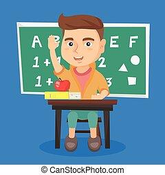 uczeń, wznos ręka, znowu, posiedzenie, na, przedimek określony przed rzeczownikami, desk.