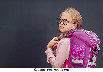 uczennica, mały, plecak