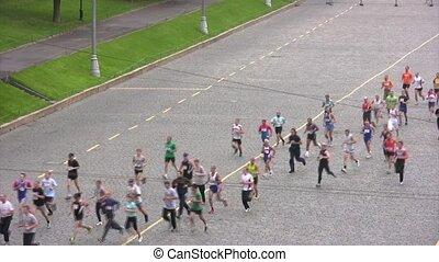 uczestnicy, od, maraton, pasaż, na, xxx, moskwa, międzynarodowy, pokój, marathon.