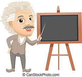 uczyć, albert, deska, ilustracja, einstein