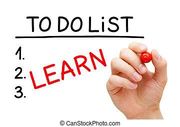 uczyć się, żeby zrobić spis