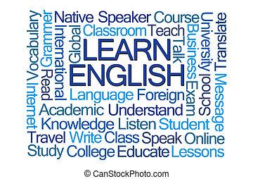 uczyć się, angielski, słowo, chmura