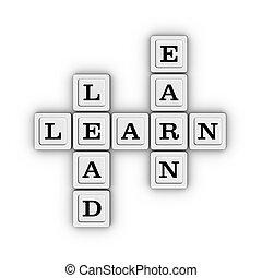 uczyć się, zarobić, krzyżówka, puzzle.