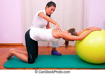 udøvelser, kontrol, bassin, trunk, hos, bobath, bold, fitball, stabilisering, udøvelser