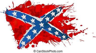 udělal, barvitý, vzpoura, prapor, šplouchnutí, konfederace