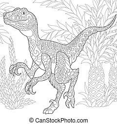uddød, species., velociraptor, dinosaur.