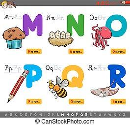 uddannelses, cartoon, alfabet, breve, by, børn