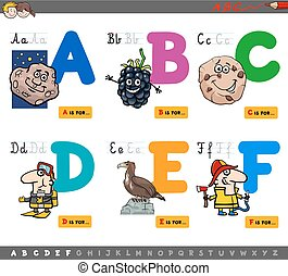 uddannelses, cartoon, alfabet, breve