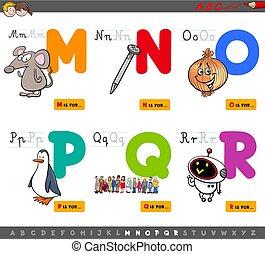 uddannelses, cartoon, alfabet, breve, sæt