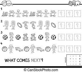 uddannelses, komplet, farve, mønster, boldspil, bog