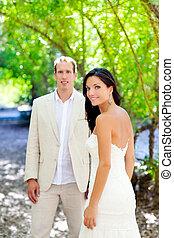 udendørs, constitutions, retfærdig, par, gift, brud