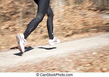 udendørs, skud, oppe, kvindelig, lukke, ben, løber