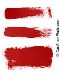 uderzenia, biały, szczotka, tło, czerwony