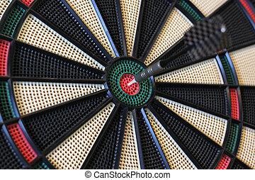 uderzenia, strzałka, dartboard, tarcza, środek