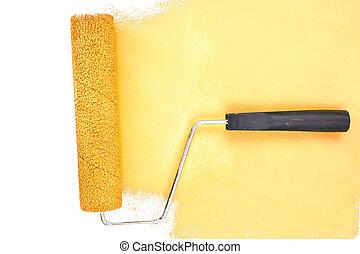 uderzenie, poziomy, żółty, szczotka