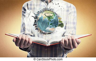 udforsker, omkring, os, verden