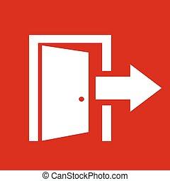 udgang, vektor, ikon