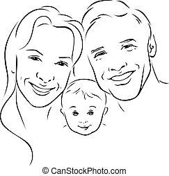 udkast, familie, -, illustration, sort, glade