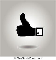 udkast, meget, stor, viser, oppe, hånd, tommelfingre, tegn.