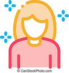 udkast, vektor, personlig omsorg, kvinde, ikon, illustration