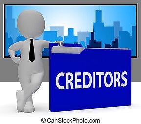 udlån, 3, gengivelse, brochuren, gæld, kreditorer, show