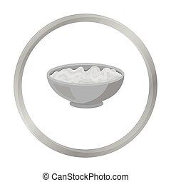 Udon icon in monochrome style isolated on white background. Sushi symbol stock vector illustration.