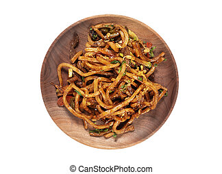 udon noodles. Wheat pasta made in thick strips. Japanese cooking.