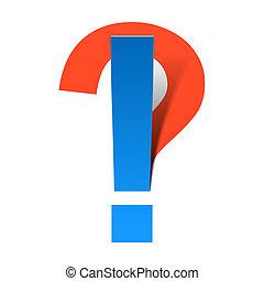 udråb, spørgsmål markerer