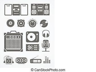 udrustning, audio, samling, iconerne