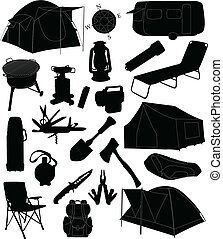 udrustning, camping