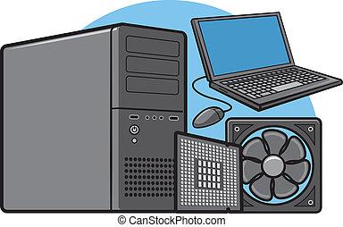 udrustning, computer