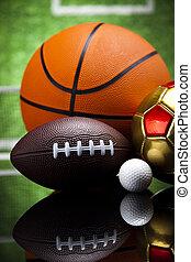 udrustning, detalje, sport