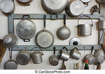 udrustning, gamle, køkken