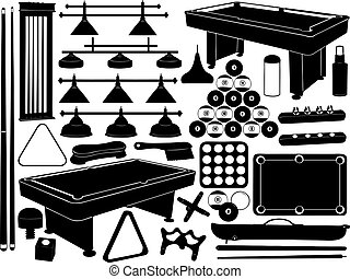 udrustning, illustration, pulje