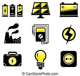 udrustning, sæt, elektriske