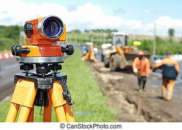 udrustning, surveyor, teodolit, niveau