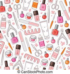 udrustning, vektor, seamless, manicure, mønster