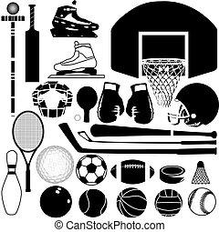 udrustning, vektor, sport