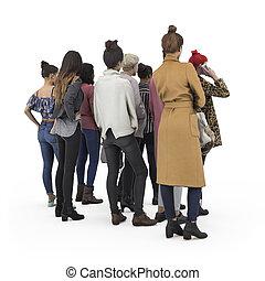 udsigt tilbage, i, beliggende, flok, girls., illustration, på hvide, baggrund, 3, gengivelse, isolated.
