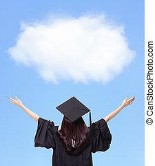udsigt tilbage, i, graduere, student, pige, klemme, fremtid