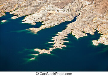 udsigter, antenne, mjød, sø