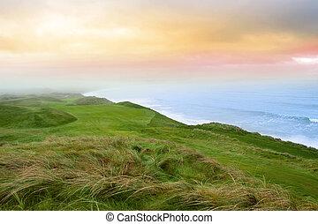 udsigter, i, den, ballybunion, lænke, golf kurs