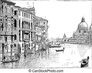 udsigter, i, den, grand canal, venedig, vinhøst, engraving.