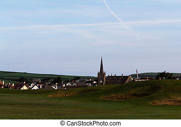 udsigter, i, en, kirke, ind, bude, af, den, golf kurs